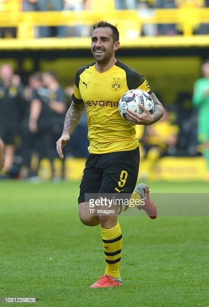 Paco Alcacer of Borussia Dortmund celebrates after scoring his team`s first goal during the Bundesliga match between Borussia Dortmund and FC...