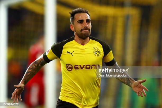 Paco Alcacer of Borussia Dortmund celebrates after scoring his team's third goal during the Bundesliga match between Borussia Dortmund and FC Bayern...