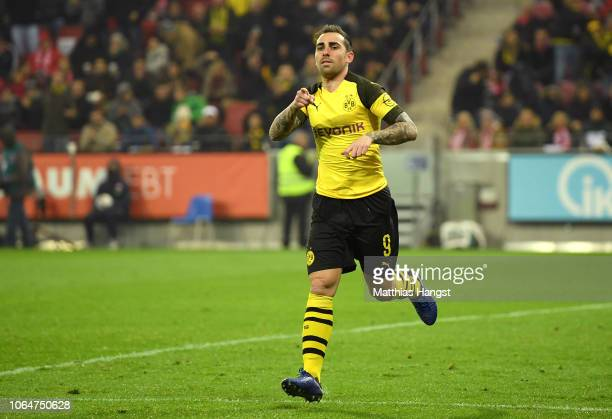 Paco Alcacer of Borussia Dortmund celebrates after scoring his team's first goal during the Bundesliga match between 1. FSV Mainz 05 and Borussia...