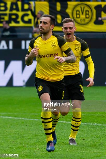Paco Alcacer of Borussia Dortmund celebrates after scoring his team's first goal with Jacob Bruun Larsen of Borussia Dortmund during the Bundesliga...