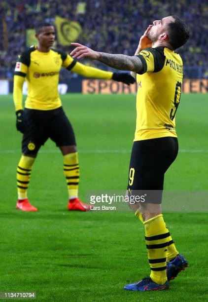 Paco Alcacer of Borussia Dortmund celebrates after scoring his team's second goal during the Bundesliga match between Borussia Dortmund and VfB...