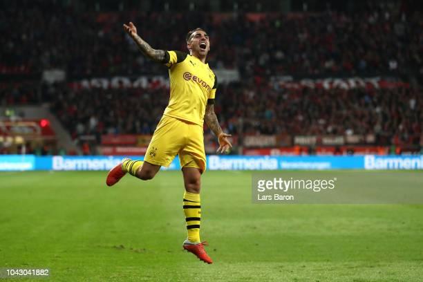 Paco Alcacer of Borussia Dortmund celebrates during the Bundesliga match between Bayer 04 Leverkusen and Borussia Dortmund at BayArena on September...