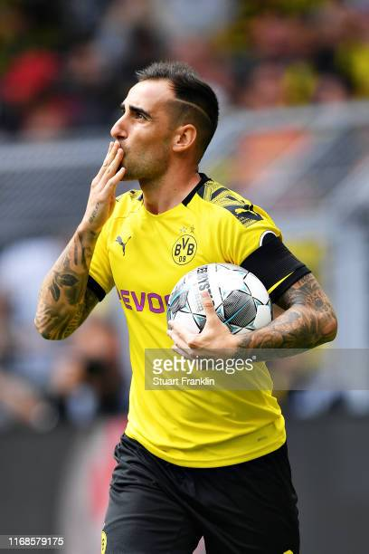 Paco Alcacer of Borussia Dortmund celebrates scoring his sides first goal during the Bundesliga match between Borussia Dortmund and FC Augsburg at...