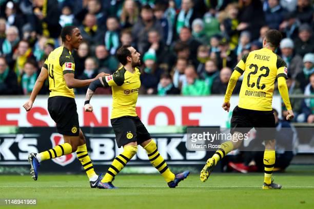 Paco Alcacer of Borussia Dortmund celebrates scoring his sides second goal during the Bundesliga match between SV Werder Bremen and Borussia Dortmund...