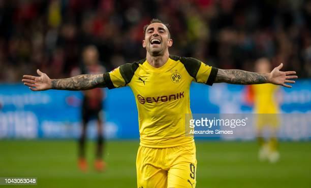 Paco Alcacer of Borussia Dortmund celebrates scoring the goal to the 24 during the Bundesliga match between Bayer 04 Leverkusen and Borussia Dortmund...