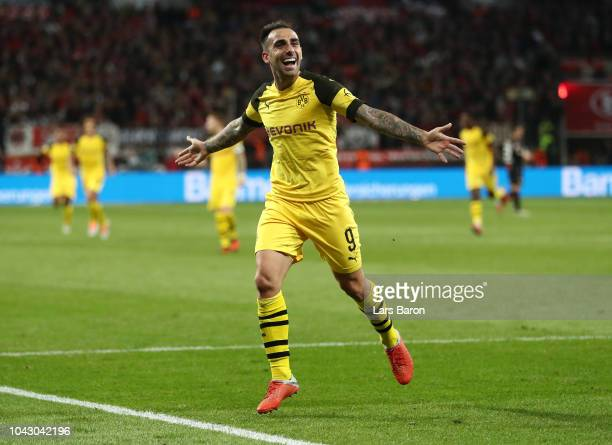 Paco Alcacer of Borussia Dortmund celebrates scoring the third goal during the Bundesliga match between Bayer 04 Leverkusen and Borussia Dortmund at...