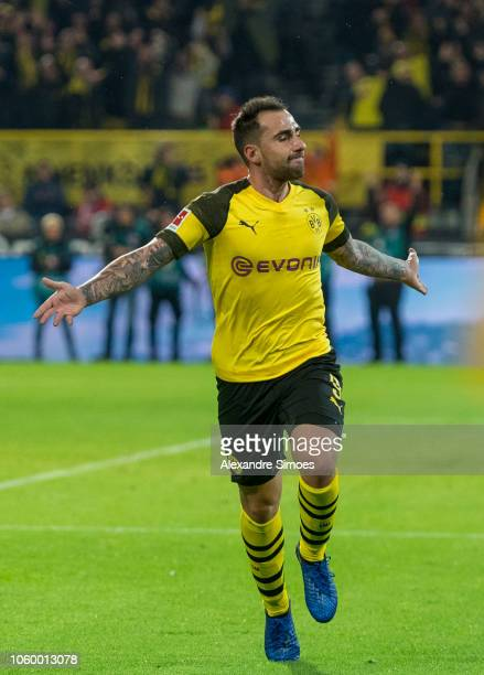 Paco Alcacer of Borussia Dortmund celebrates scoring the winning goal to the 32 during the Bundesliga match between Borussia Dortmund and FC Bayern...