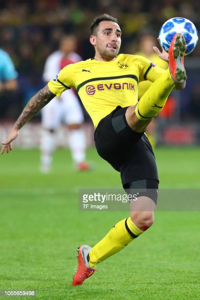 Paco Alcacer of Borussia Dortmund controls the ball during the Group A match of the UEFA Champions League between Borussia Dortmund and AS Monaco at...