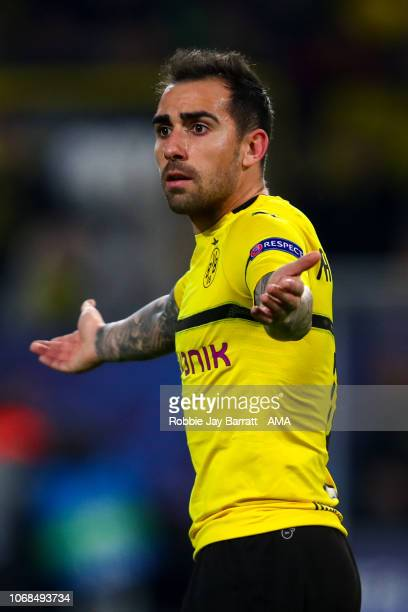 Paco Alcacer of Borussia Dortmund during the Group A match of the UEFA Champions League between Borussia Dortmund and Club Brugge at Signal Iduna...