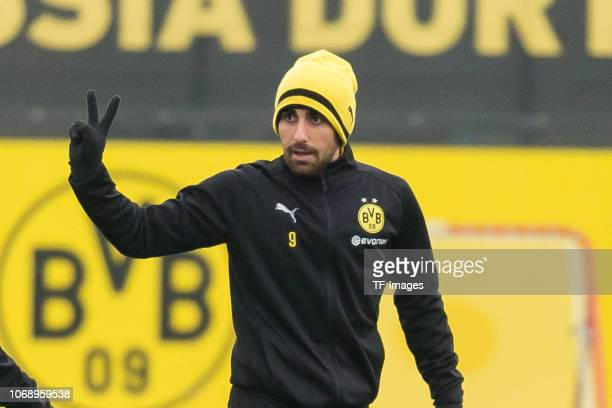 Paco Alcacer of Borussia Dortmund gestures during a training session at BVB training center on December 6 2018 in Dortmund Germany