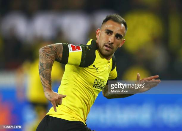Paco Alcacer of Borussia Dortmund in action during the Bundesliga match between Borussia Dortmund and Eintracht Frankfurt at Signal Iduna Park on...