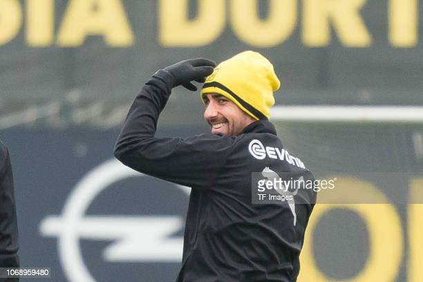 Paco Alcacer of Borussia Dortmund laughs during a training session at BVB training center on December 6 2018 in Dortmund Germany