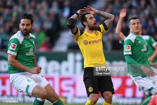 Paco Alcacer of Borussia Dortmund looks dejected during the Bundesliga match between SV Werder Bremen and Borussia Dortmund at Weserstadion on May 04...