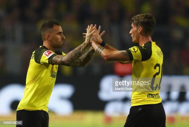 Paco Alcacer of Borussia Dortmund replaces Maximilian Philipp of Borussia Dortmund as substitute during the Bundesliga match between Borussia...