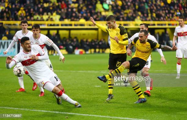 Paco Alcacer of Borussia Dortmund scores his team's second goal during the Bundesliga match between Borussia Dortmund and VfB Stuttgart at Signal...