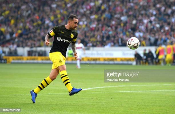 Paco Alcacer of Borussia Dortmund scores his team's third goal during the Bundesliga match between VfB Stuttgart and Borussia Dortmund at...