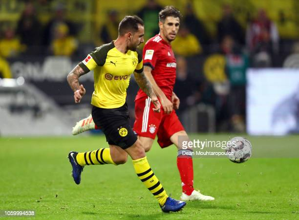 Paco Alcacer of Borussia Dortmund scores his team's third goal during the Bundesliga match between Borussia Dortmund and FC Bayern Muenchen at Signal...