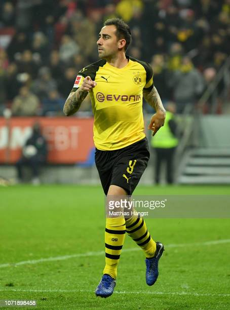 Paco Alcacer of Dortmund celebrates after scoring his team's first goal during the Bundesliga match between 1 FSV Mainz 05 and Borussia Dortmund at...