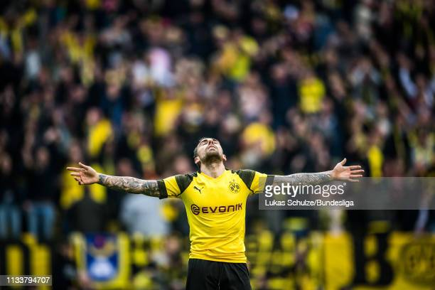 Paco Alcacer of Dortmund celebrates his second goal during the Bundesliga match between Borussia Dortmund and VfL Wolfsburg at Signal Iduna Park on...