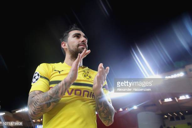 Paco Alcacer of Dortmund celebrates victory after winning the UEFA Champions League Group A match between AS Monaco and Borussia Dortmund at Stade...