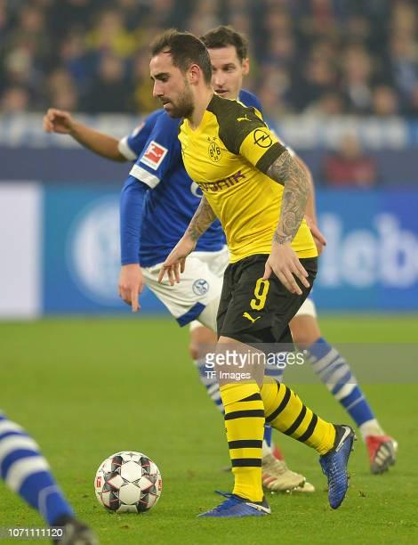 Paco Alcacer of Dortmund controls the ball during the Bundesliga match between FC Schalke 04 and Borussia Dortmund at VeltinsArena on December 8 2018...