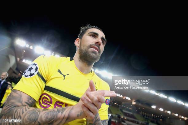 Paco Alcacer of Dortmund looks on after winning the UEFA Champions League Group A match between AS Monaco and Borussia Dortmund at Stade Louis II on...