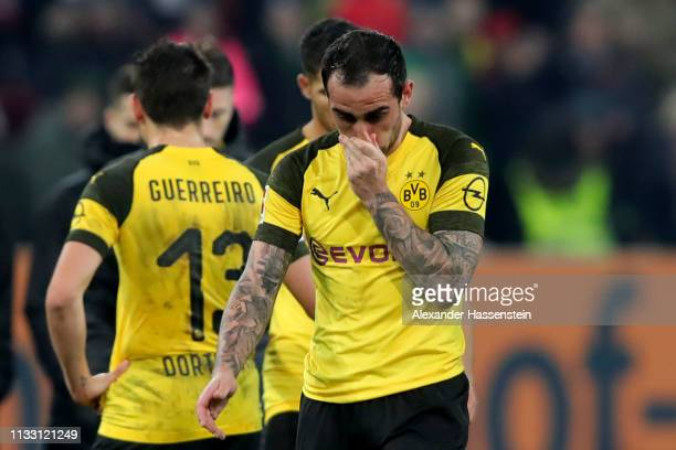 Paco Alcacer of Dortmund reacts after during the Bundesliga match between FC Augsburg and Borussia Dortmund at WWKArena on March 01 2019 in Augsburg...