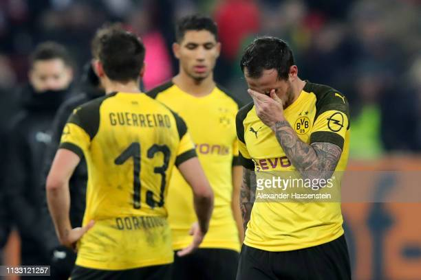 Paco Alcacer of Dortmund reacts after during the Bundesliga match between FC Augsburg and Borussia Dortmund at WWK-Arena on March 01, 2019 in...