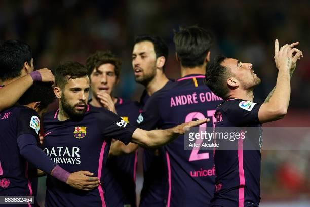 Paco Alcacer of FC Barcelona celebrates after scoring during the La Liga match between Granada CF v FC Barcelona at Estadio Nuevo Los Carmenes on...
