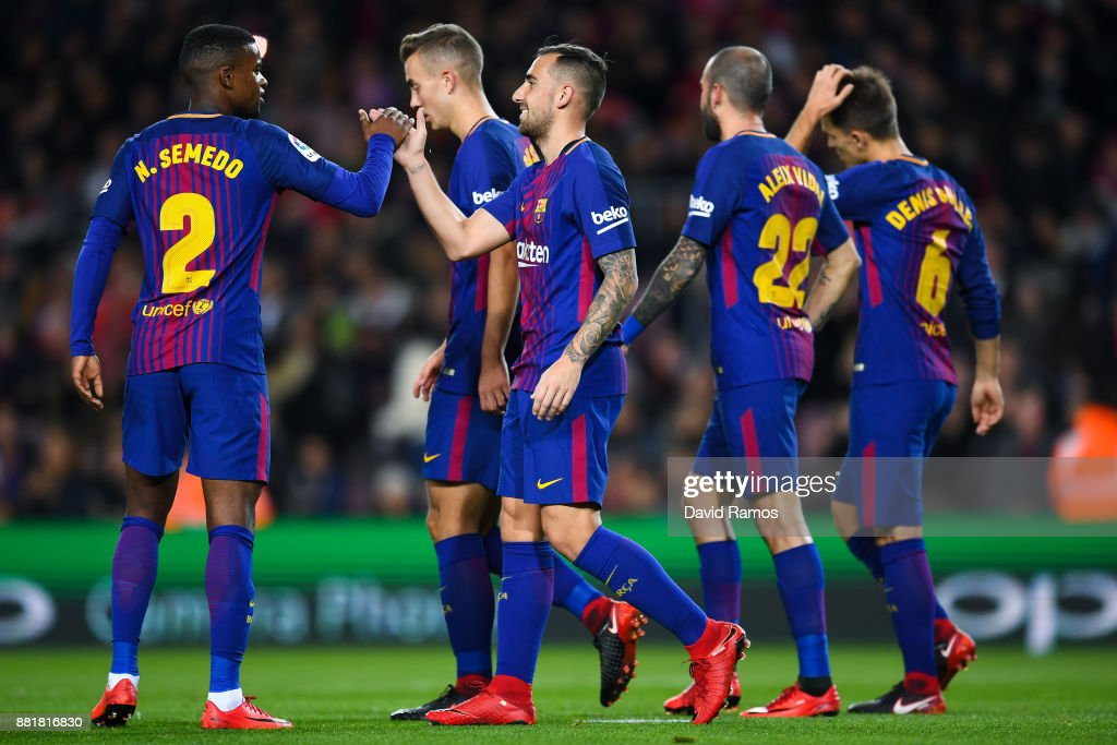 Paco Alcacer of FC Barcelona (C) celebrates after scoring his team's first goal during the Copa del Rey round of 32 second leg match between FC Barcelona and Real Murcia on at Camp Nou on November 29, 2017 in Barcelona, Spain.