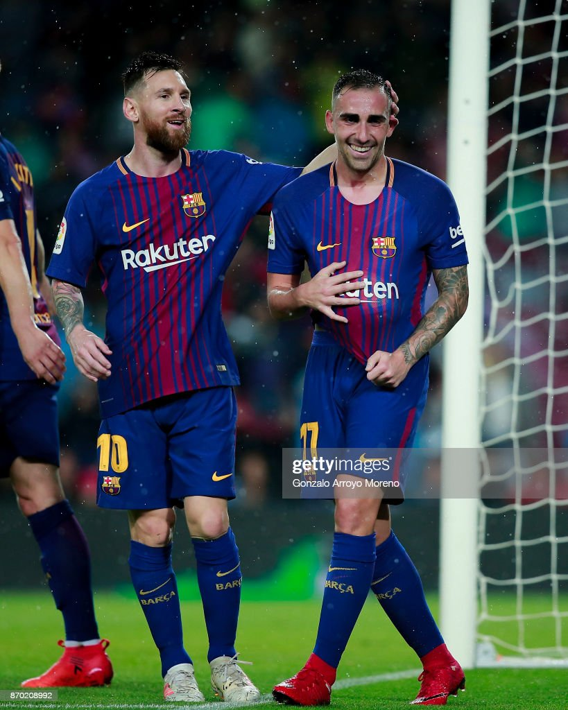 Paco Alcacer (R) of FC Barcelona celebrates scoring their opening goal with teammate Lionel Messi (L)during the La Liga match between FC Barcelona and Sevilla FC at Camp Nou stadium on November 4, 2017 in Barcelona, Spain.