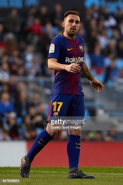 Paco Alcacer of FC Barcelona looks on during the La Liga match between Celta de Vigo and Barcelona at Balaidos Stadium on April 17 2018 in Vigo Spain