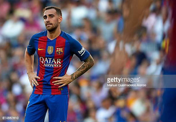 Paco Alcacer of FC Barcelona reacts as he fails to score during the La Liga match between FC Barcelona and RC Deportivo de La Coruna at Camp Nou...