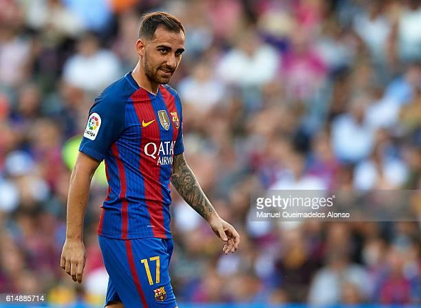 Paco Alcacer of FC Barcelona reacts during the La Liga match between FC Barcelona and RC Deportivo de La Coruna at Camp Nou stadium on October 15...