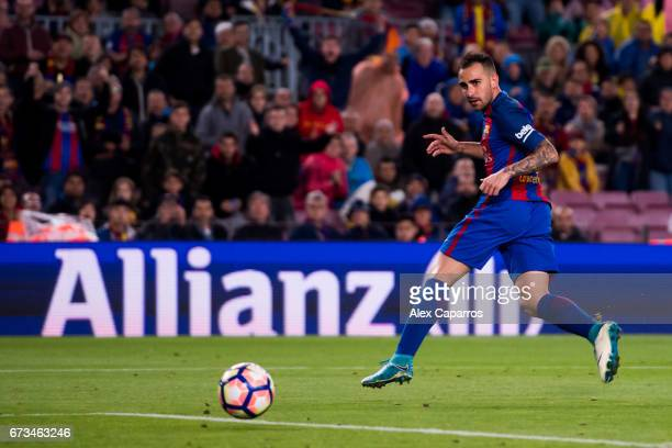 Paco Alcacer of FC Barcelona scores his team's seventh goal during the La Liga match between FC Barcelona and CA Osasuna at Camp Nou stadium on April...
