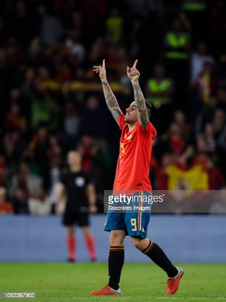 Paco Alcacer of Spain celebrate his goal during the UEFA Nations league match between Spain v England at the Estadio Benito Villamarin on October 15...