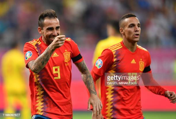Paco Alcacer of Spain celebrates after he scored 20 goal during the Euro 2020 football qualification match between Romania and Spain in Bucharest...