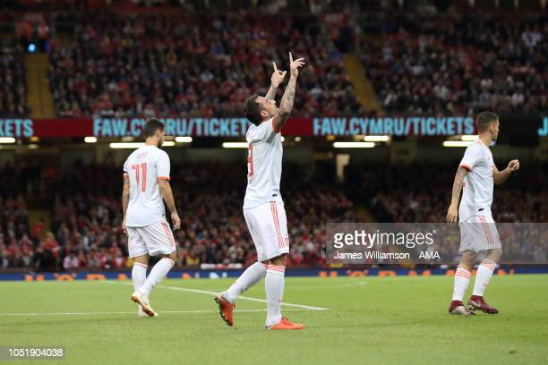 Paco Alcacer of Spain celebrates after scoring a goal to make it 10 during the International Friendly match between Wales and Spain on October 11...