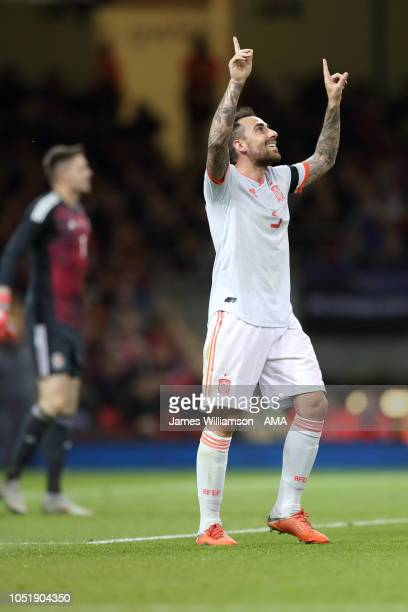 Paco Alcacer of Spain celebrates after scoring a goal to make it 30 during the International Friendly match between Wales and Spain on October 11...