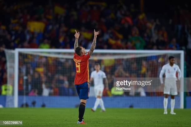 Paco Alcacer of Spain celebrates after scoring during the UEFA Nations League A football match between Spain and England at Benito Villamarin Stadium...