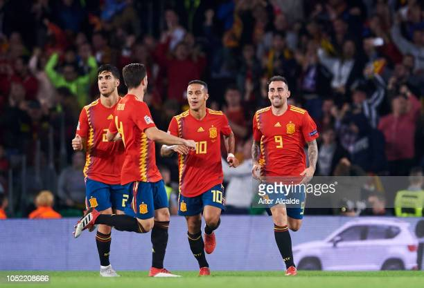 Paco Alcacer of Spain celebrates after scoring goal during the UEFA Nations League A Group Four match between Spain and England at Estadio Benito...