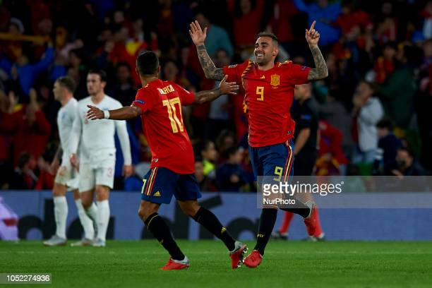 Paco Alcacer of Spain celebrates after scoring his sides first goal during the UEFA Nations League football match between Spain and England at Benito...