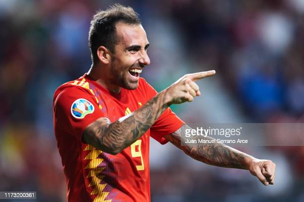 Paco Alcacer of Spain celebrates after scoring the fourth goal during the UEFA Euro 2020 qualifier match between Spain and Faroe Islands at Estadio...