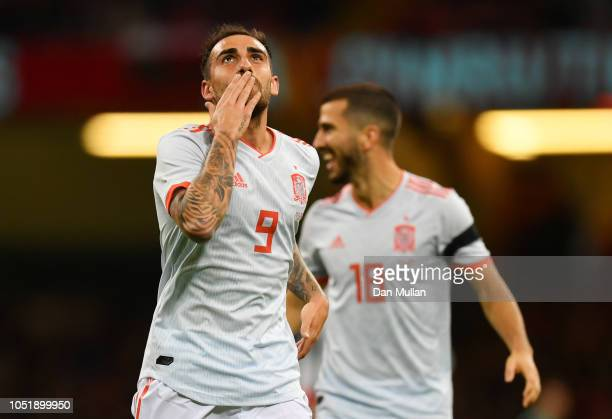 Paco Alcacer of Spain celebrates as he scores his team's first goal during the International Friendly match between Wales and Spain on October 11...