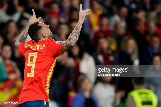 Paco Alcacer of Spain during the UEFA Nations league match between Spain v England at the Estadio Benito Villamarin on October 15 2018 in Sevilla...