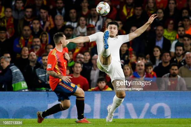 Paco Alcacer of Spain Harry Maguire of England during the UEFA Nations league match between Spain v England at the Estadio Benito Villamarin on...