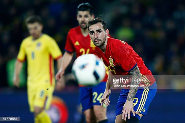 Paco Alcacer of Spain in action during the International Friendly match between Romania and Spain held at the Cluj Arena on March 27 2016 in...