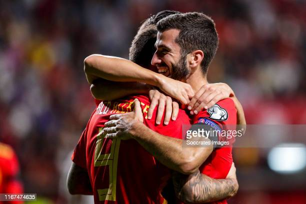 Paco Alcacer of Spain Jose Gaya of Spain celebrates goal 40 during the EURO Qualifier match between Spain v Faroe Islands at the El Molinon on...