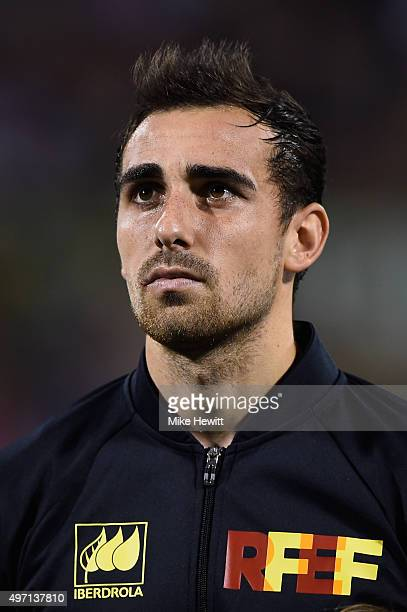 Paco Alcacer of Spain lines up for the National Anthem ahead of an International Friendly between Spain and England at the Estadio José Rico Pérez on...
