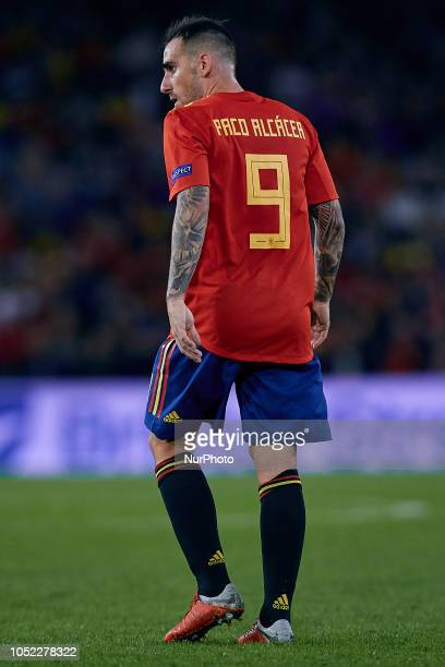 Paco Alcacer of Spain looks back during the UEFA Nations League A group four match between Spain and England at Benito Villamarin on October 15 2018...